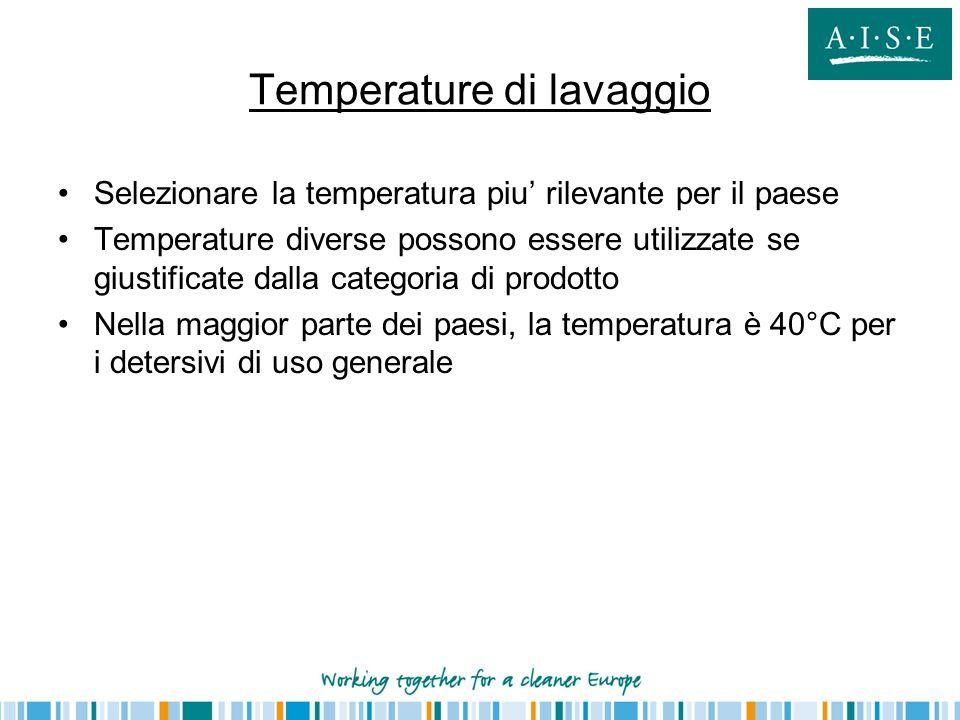Temperature di lavaggio Selezionare la temperatura piu' rilevante per il paese Temperature diverse possono essere utilizzate se giustificate dalla categoria di prodotto Nella maggior parte dei paesi, la temperatura è 40°C per i detersivi di uso generale