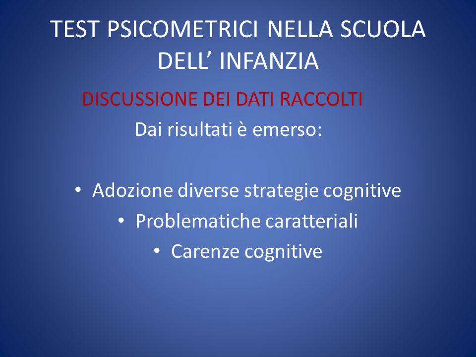 TEST PSICOMETRICI NELLA SCUOLA DELL' INFANZIA DISCUSSIONE DEI DATI RACCOLTI Dai risultati è emerso: Adozione diverse strategie cognitive Problematiche