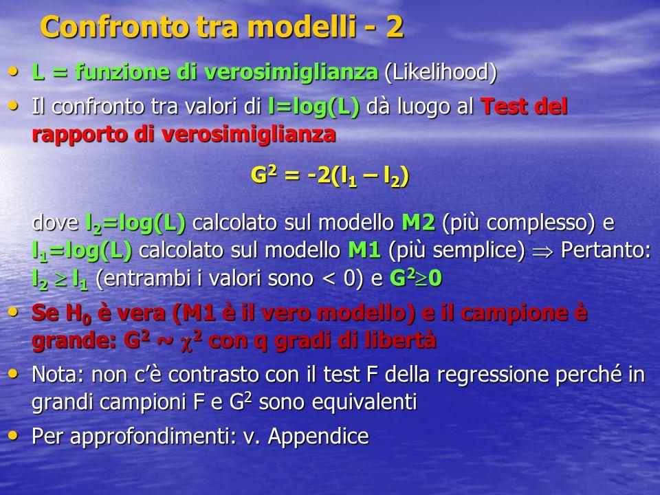 Confronto tra modelli - 2 L = funzione di verosimiglianza (Likelihood) L = funzione di verosimiglianza (Likelihood) Il confronto tra valori di l=log(L) dà luogo al Test del rapporto di verosimiglianza Il confronto tra valori di l=log(L) dà luogo al Test del rapporto di verosimiglianza G 2 = -2(l 1 – l 2 ) dove l 2 =log(L) calcolato sul modello M2 (più complesso) e l 1 =log(L) calcolato sul modello M1 (più semplice)  Pertanto: l 2  l 1 (entrambi i valori sono < 0) e G 2  0 Se H 0 è vera (M1 è il vero modello) e il campione è grande: G 2 ~  2 con q gradi di libertà Se H 0 è vera (M1 è il vero modello) e il campione è grande: G 2 ~  2 con q gradi di libertà Nota: non c'è contrasto con il test F della regressione perché in grandi campioni F e G 2 sono equivalenti Nota: non c'è contrasto con il test F della regressione perché in grandi campioni F e G 2 sono equivalenti Per approfondimenti: v.