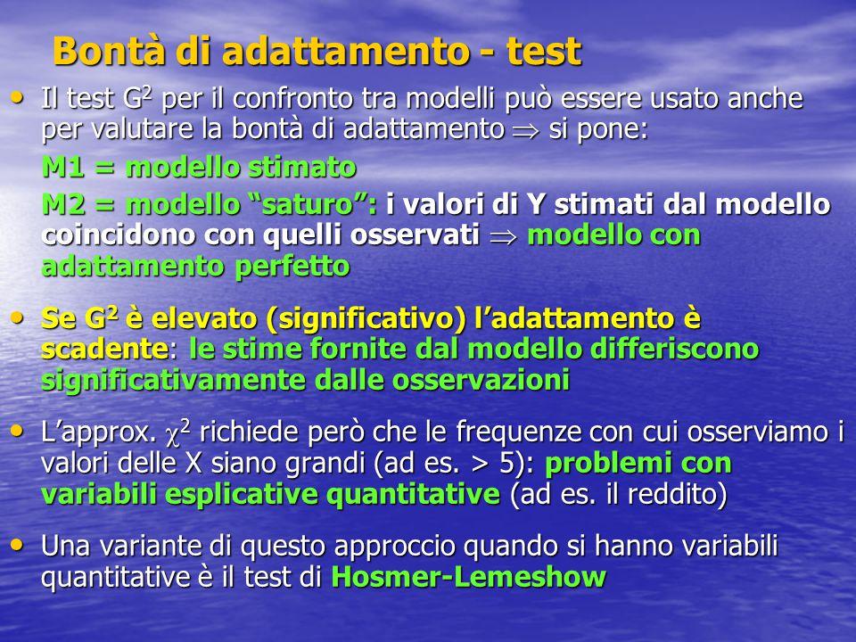 Bontà di adattamento - test Il test G 2 per il confronto tra modelli può essere usato anche per valutare la bontà di adattamento  si pone: Il test G 2 per il confronto tra modelli può essere usato anche per valutare la bontà di adattamento  si pone: M1 = modello stimato M2 = modello saturo : i valori di Y stimati dal modello coincidono con quelli osservati  modello con adattamento perfetto Se G 2 è elevato (significativo) l'adattamento è scadente: le stime fornite dal modello differiscono significativamente dalle osservazioni Se G 2 è elevato (significativo) l'adattamento è scadente: le stime fornite dal modello differiscono significativamente dalle osservazioni L'approx.