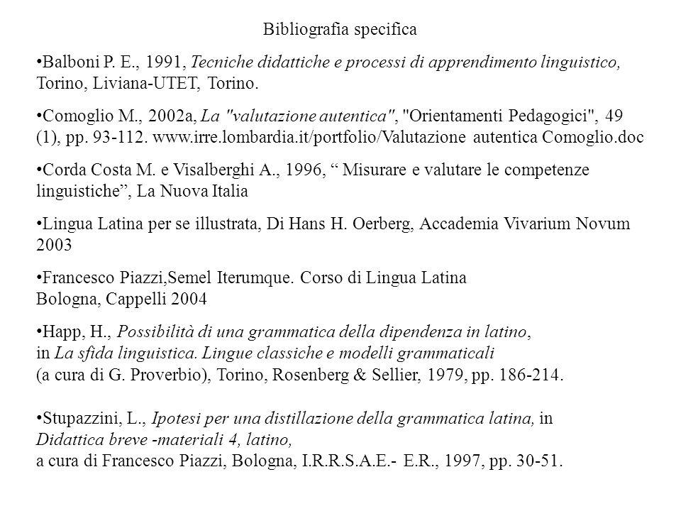 Bibliografia specifica Balboni P. E., 1991, Tecniche didattiche e processi di apprendimento linguistico, Torino, Liviana-UTET, Torino. Comoglio M., 20