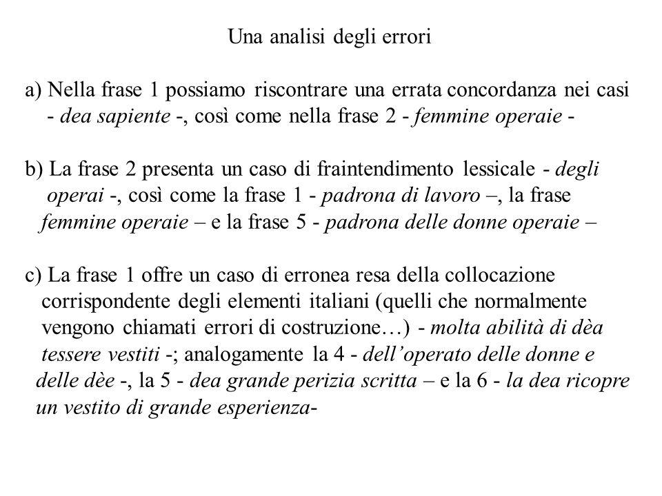 Una analisi degli errori a) Nella frase 1 possiamo riscontrare una errata concordanza nei casi - dea sapiente -, così come nella frase 2 - femmine ope