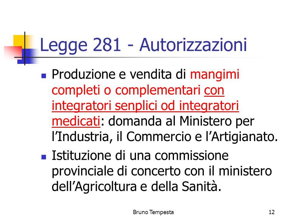Bruno Tempesta12 Legge 281 - Autorizzazioni Produzione e vendita di mangimi completi o complementari con integratori senplici od integratori medicati: domanda al Ministero per l'Industria, il Commercio e l'Artigianato.