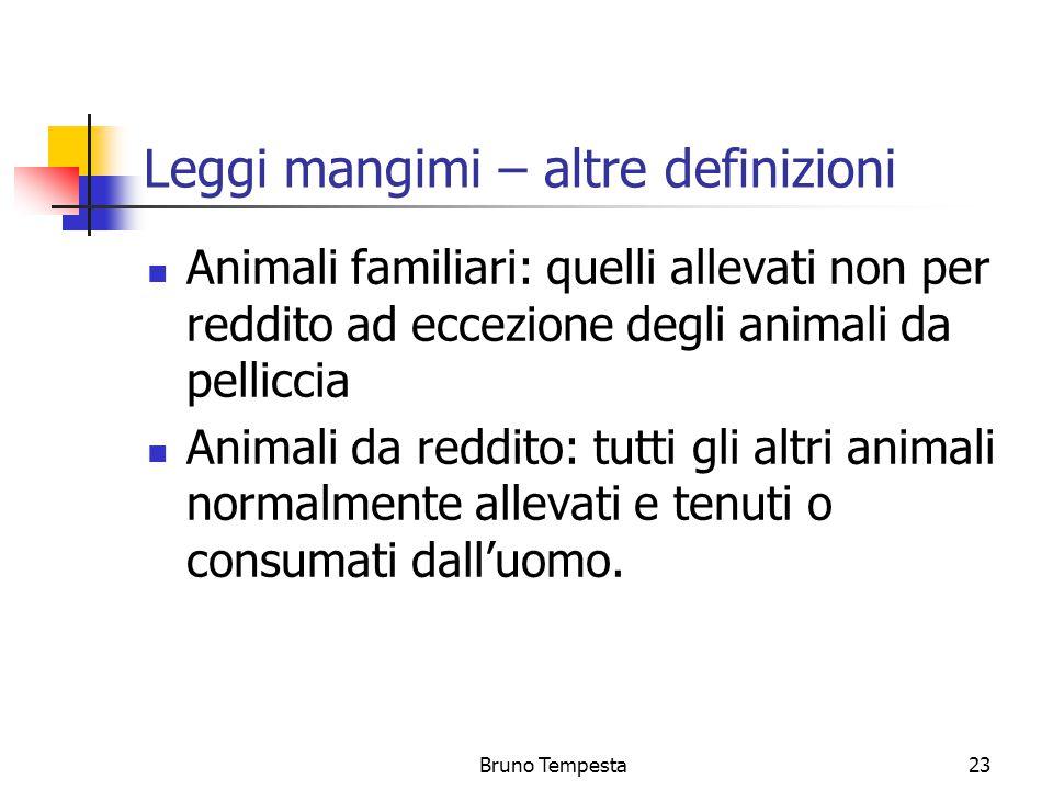 Bruno Tempesta23 Leggi mangimi – altre definizioni Animali familiari: quelli allevati non per reddito ad eccezione degli animali da pelliccia Animali da reddito: tutti gli altri animali normalmente allevati e tenuti o consumati dall'uomo.