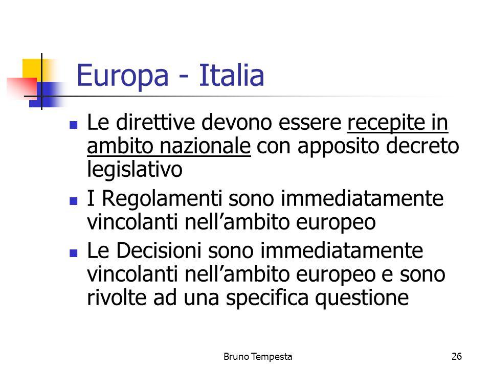 Bruno Tempesta26 Europa - Italia Le direttive devono essere recepite in ambito nazionale con apposito decreto legislativo I Regolamenti sono immediatamente vincolanti nell'ambito europeo Le Decisioni sono immediatamente vincolanti nell'ambito europeo e sono rivolte ad una specifica questione