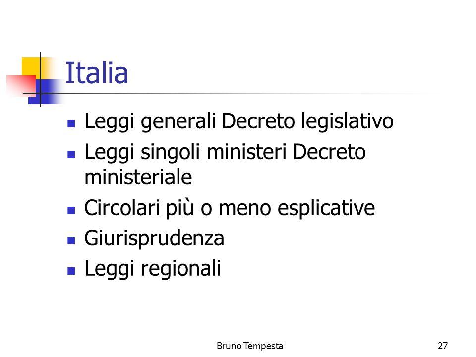 Bruno Tempesta27 Italia Leggi generali Decreto legislativo Leggi singoli ministeri Decreto ministeriale Circolari più o meno esplicative Giurisprudenza Leggi regionali