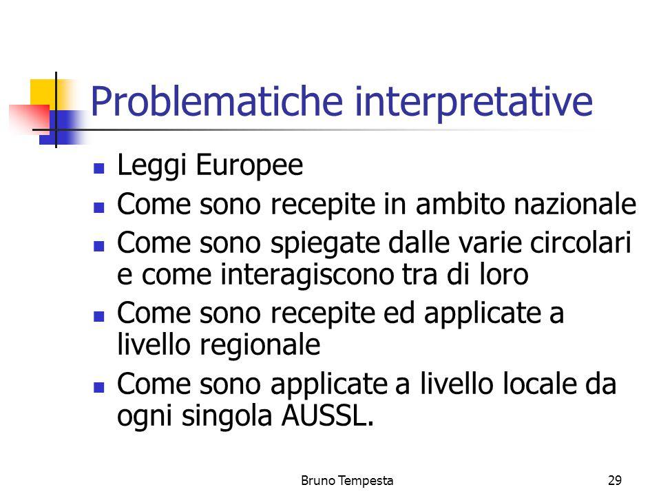 Bruno Tempesta29 Problematiche interpretative Leggi Europee Come sono recepite in ambito nazionale Come sono spiegate dalle varie circolari e come interagiscono tra di loro Come sono recepite ed applicate a livello regionale Come sono applicate a livello locale da ogni singola AUSSL.