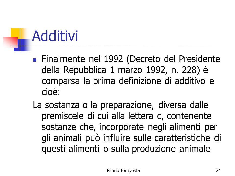 Bruno Tempesta31 Additivi Finalmente nel 1992 (Decreto del Presidente della Repubblica 1 marzo 1992, n.