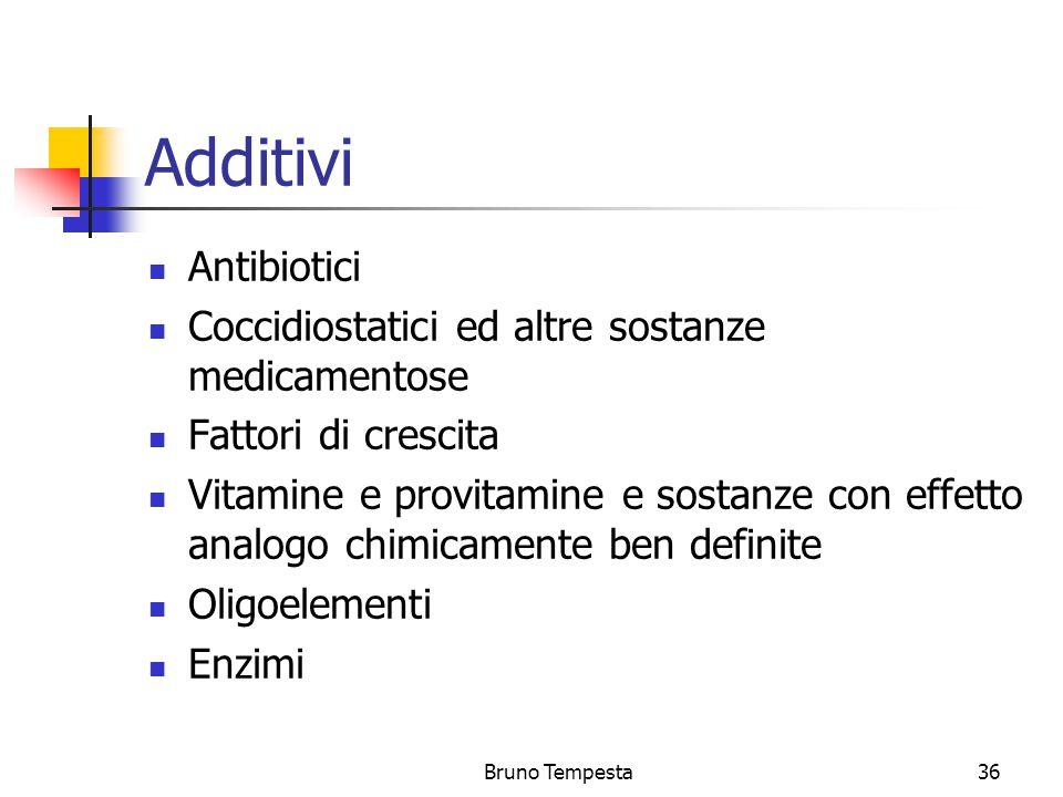 Bruno Tempesta36 Additivi Antibiotici Coccidiostatici ed altre sostanze medicamentose Fattori di crescita Vitamine e provitamine e sostanze con effetto analogo chimicamente ben definite Oligoelementi Enzimi