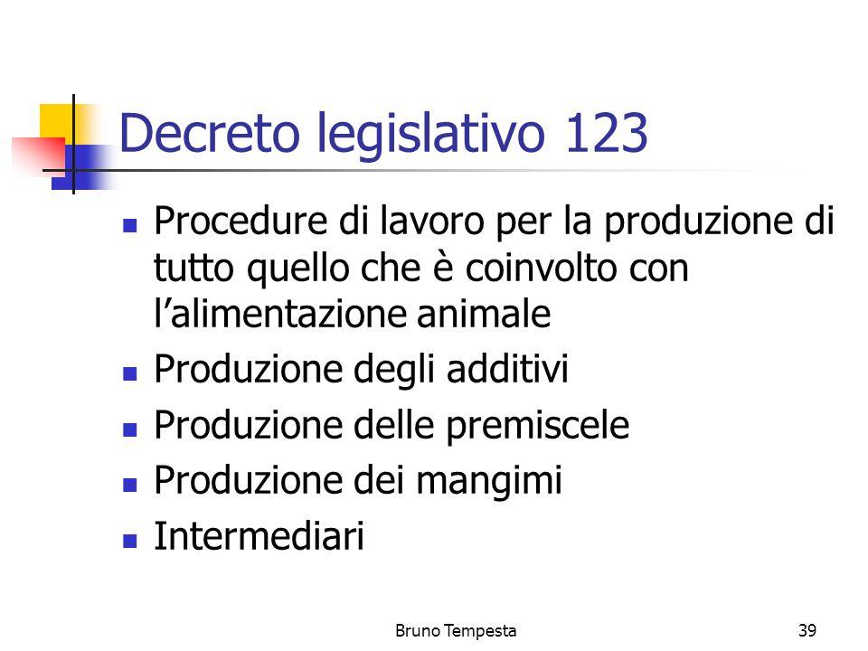 Bruno Tempesta39 Decreto legislativo 123 Procedure di lavoro per la produzione di tutto quello che è coinvolto con l'alimentazione animale Produzione degli additivi Produzione delle premiscele Produzione dei mangimi Intermediari