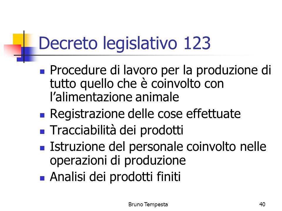 Bruno Tempesta40 Decreto legislativo 123 Procedure di lavoro per la produzione di tutto quello che è coinvolto con l'alimentazione animale Registrazione delle cose effettuate Tracciabilità dei prodotti Istruzione del personale coinvolto nelle operazioni di produzione Analisi dei prodotti finiti