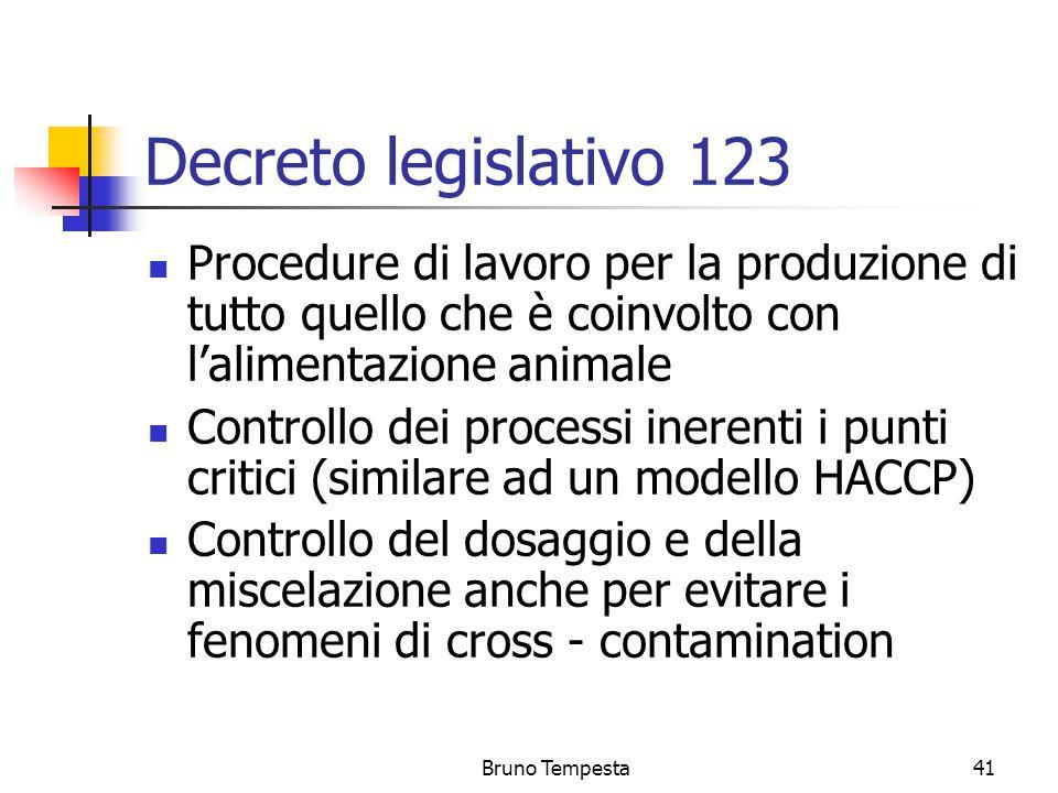 Bruno Tempesta41 Decreto legislativo 123 Procedure di lavoro per la produzione di tutto quello che è coinvolto con l'alimentazione animale Controllo dei processi inerenti i punti critici (similare ad un modello HACCP) Controllo del dosaggio e della miscelazione anche per evitare i fenomeni di cross - contamination