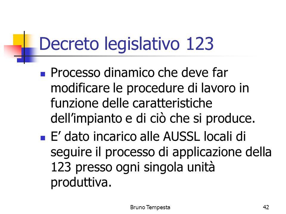 Bruno Tempesta42 Decreto legislativo 123 Processo dinamico che deve far modificare le procedure di lavoro in funzione delle caratteristiche dell'impianto e di ciò che si produce.