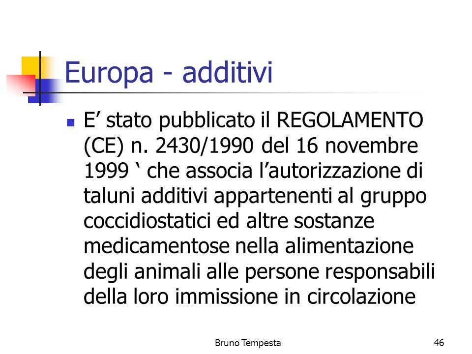 Bruno Tempesta46 Europa - additivi E' stato pubblicato il REGOLAMENTO (CE) n.