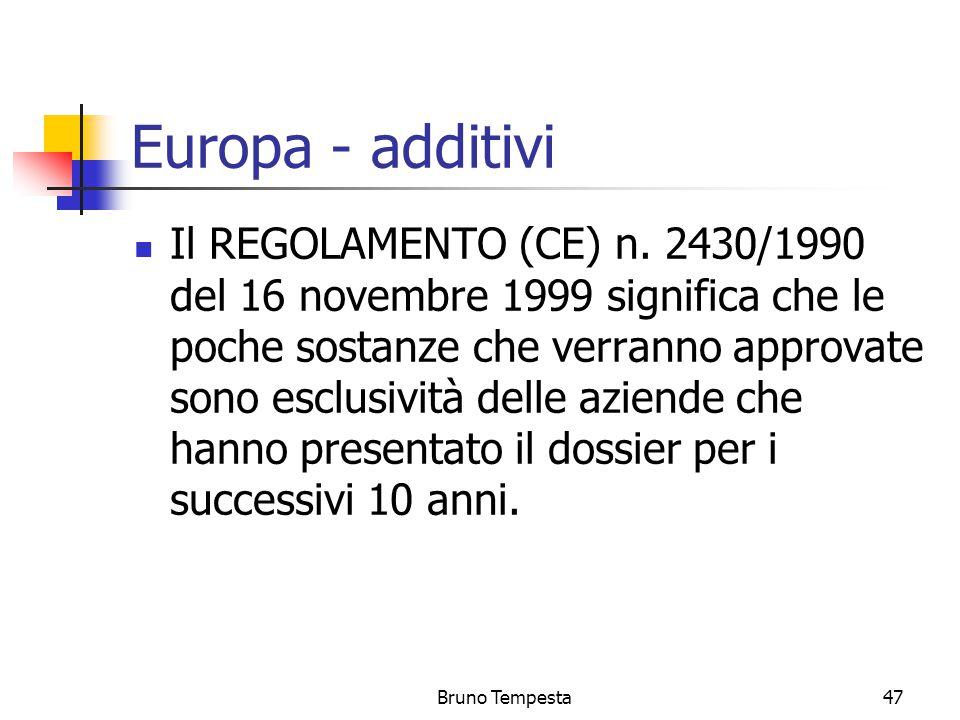 Bruno Tempesta47 Europa - additivi Il REGOLAMENTO (CE) n.