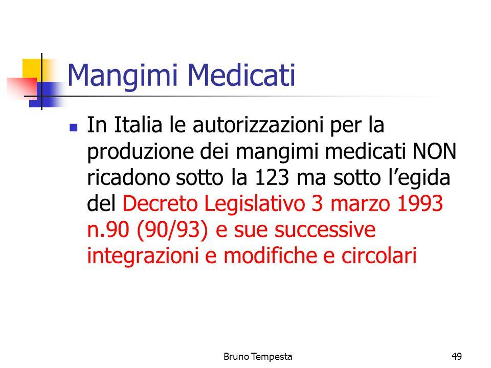 Bruno Tempesta49 Mangimi Medicati In Italia le autorizzazioni per la produzione dei mangimi medicati NON ricadono sotto la 123 ma sotto l'egida del Decreto Legislativo 3 marzo 1993 n.90 (90/93) e sue successive integrazioni e modifiche e circolari