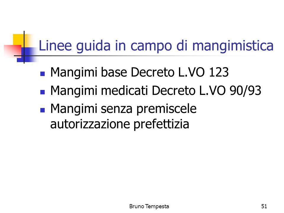 Bruno Tempesta51 Linee guida in campo di mangimistica Mangimi base Decreto L.VO 123 Mangimi medicati Decreto L.VO 90/93 Mangimi senza premiscele autorizzazione prefettizia