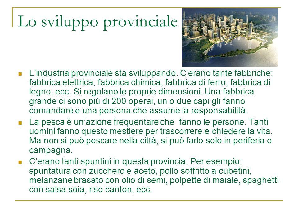 Lo sviluppo provinciale L'industria provinciale sta sviluppando. C'erano tante fabbriche: fabbrica elettrica, fabbrica chimica, fabbrica di ferro, fab