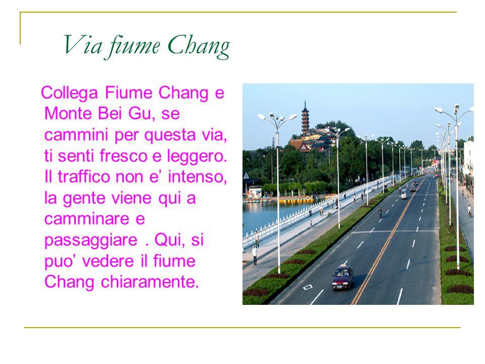 Via fiume Chang Collega Fiume Chang e Monte Bei Gu, se cammini per questa via, ti senti fresco e leggero. Il traffico non e' intenso, la gente viene q