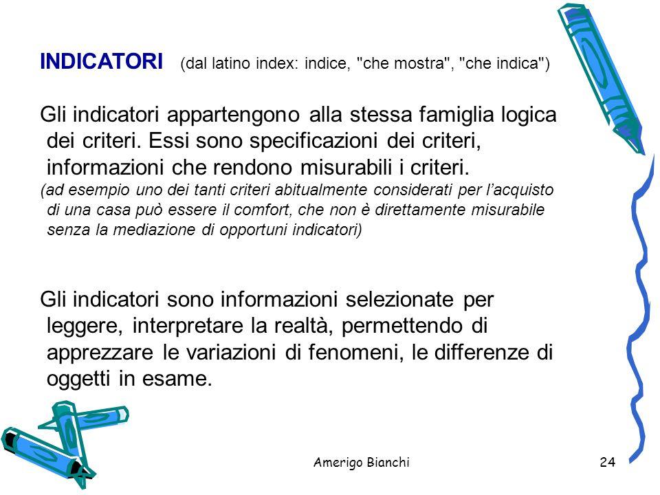 Amerigo Bianchi24 INDICATORI (dal latino index: indice, che mostra , che indica ) Gli indicatori appartengono alla stessa famiglia logica dei criteri.