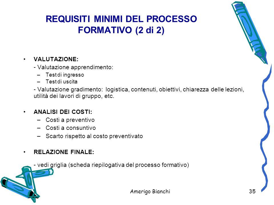 Amerigo Bianchi35 VALUTAZIONE: - Valutazione apprendimento: –Test di ingresso –Test di uscita - Valutazione gradimento:logistica, contenuti, obiettivi, chiarezza delle lezioni, utilità dei lavori di gruppo, etc.
