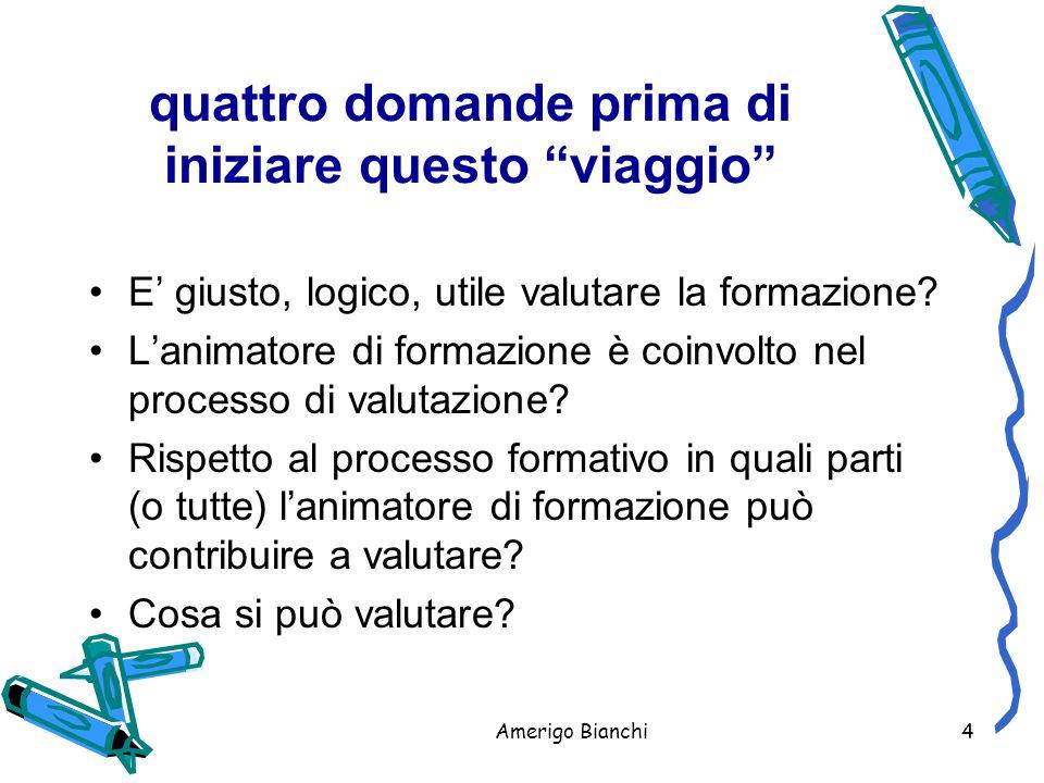 Amerigo Bianchi4 quattro domande prima di iniziare questo viaggio E' giusto, logico, utile valutare la formazione.