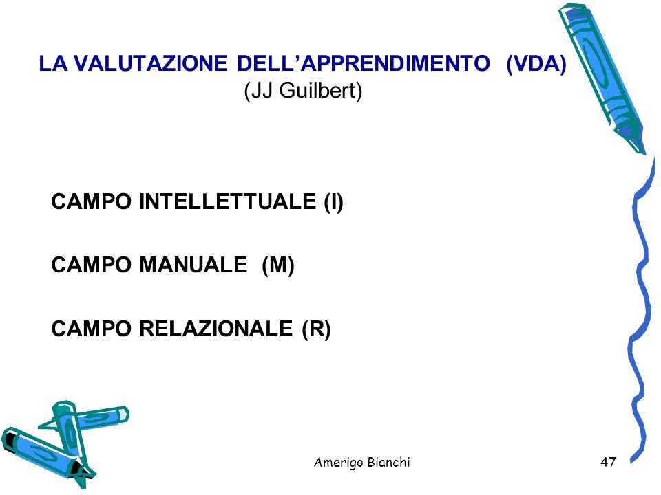 Amerigo Bianchi47 LA VALUTAZIONE DELL'APPRENDIMENTO (VDA) (JJ Guilbert) CAMPO INTELLETTUALE (I) CAMPO MANUALE (M) CAMPO RELAZIONALE (R)