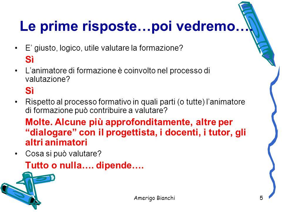Amerigo Bianchi5 Le prime risposte…poi vedremo….E' giusto, logico, utile valutare la formazione.