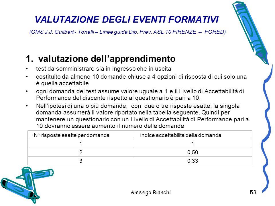 Amerigo Bianchi53 VALUTAZIONE DEGLI EVENTI FORMATIVI (OMS J.J.