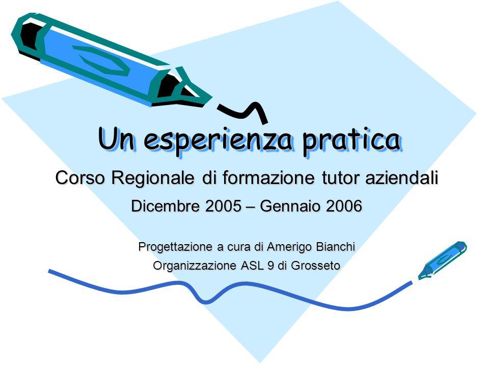 Un esperienza pratica Corso Regionale di formazione tutor aziendali Dicembre 2005 – Gennaio 2006 Progettazione a cura di Amerigo Bianchi Organizzazione ASL 9 di Grosseto