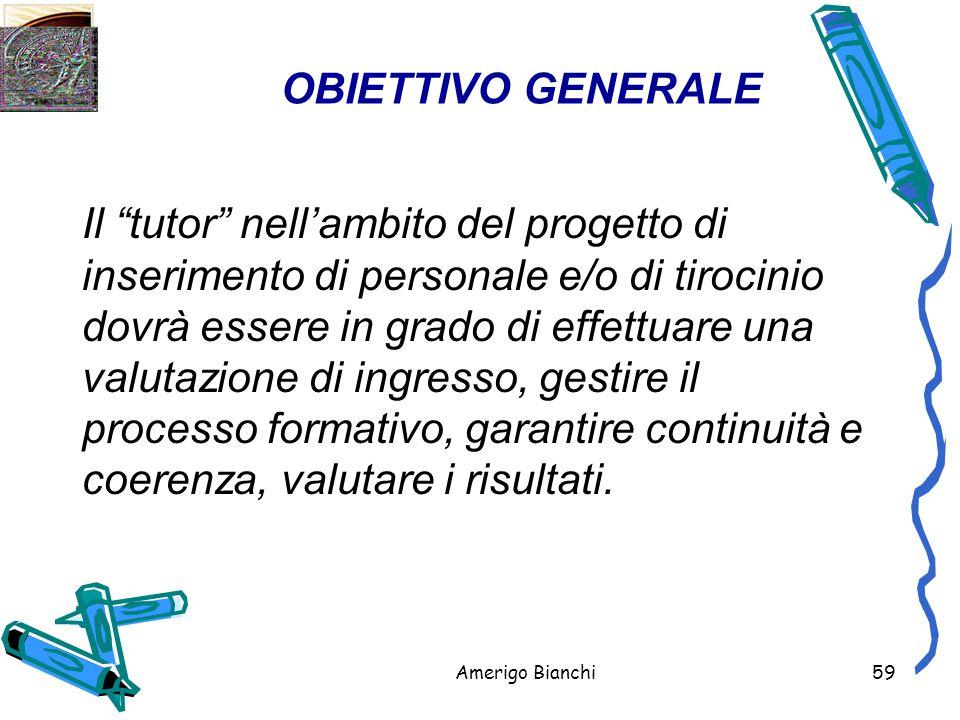 Amerigo Bianchi59 OBIETTIVO GENERALE Il tutor nell'ambito del progetto di inserimento di personale e/o di tirocinio dovrà essere in grado di effettuare una valutazione di ingresso, gestire il processo formativo, garantire continuità e coerenza, valutare i risultati.