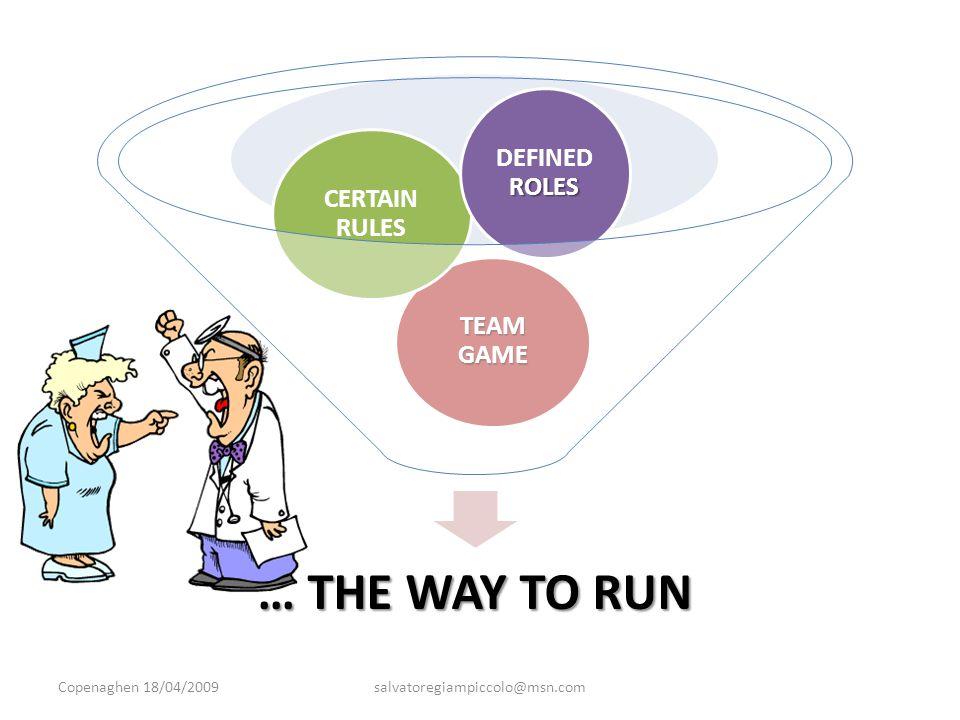 … THE WAY TO RUN TEAM GAME CERTAIN RULES ROLES DEFINED ROLES Copenaghen 18/04/2009salvatoregiampiccolo@msn.com