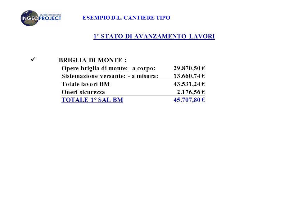 ESEMPIO D.L. CANTIERE TIPO 1° STATO DI AVANZAMENTO LAVORI BRIGLIA DI MONTE : Opere briglia di monte: -a corpo: 29.870,50 € Sistemazione versante: - a