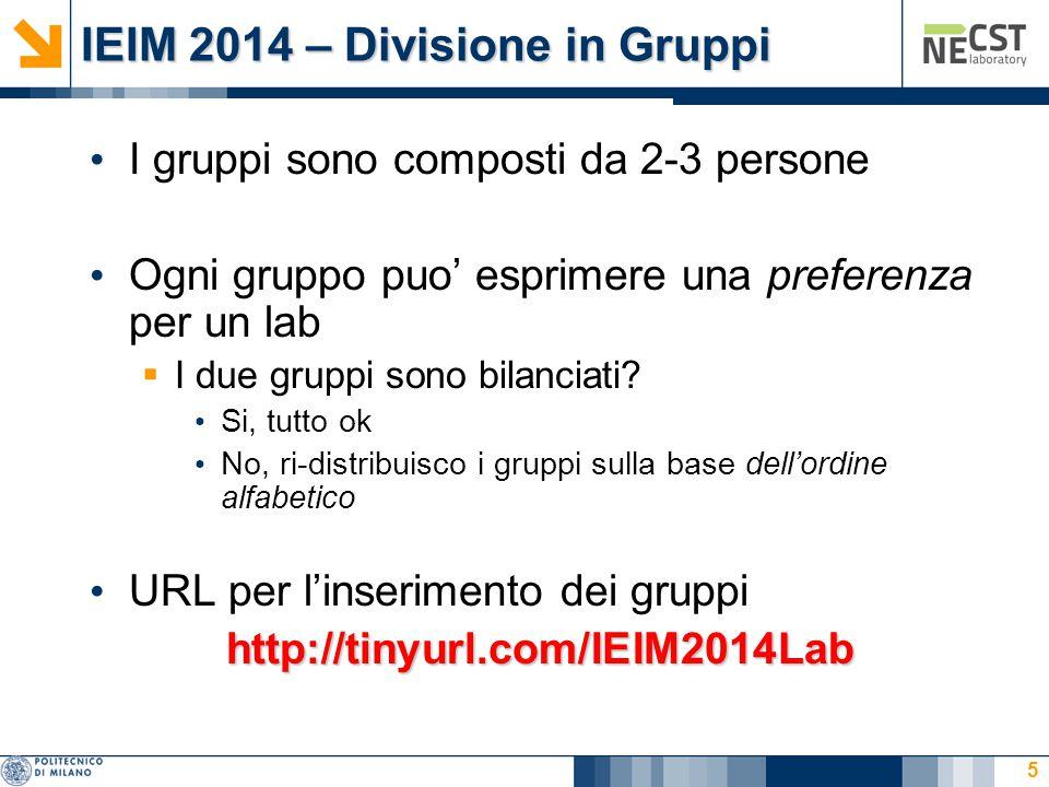 IEIM 2014 – Divisione in Gruppi I gruppi sono composti da 2-3 persone Ogni gruppo puo' esprimere una preferenza per un lab  I due gruppi sono bilanci