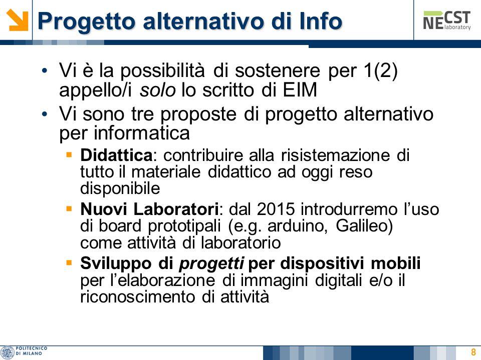 Progetto alternativo di Info Vi è la possibilità di sostenere per 1(2) appello/i solo lo scritto di EIM Vi sono tre proposte di progetto alternativo p