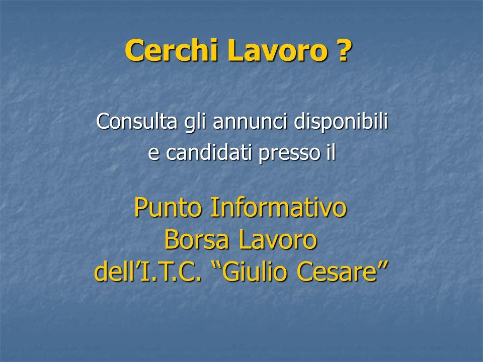 Punto Informativo Borsa Lavoro dell'I.T.C. Giulio Cesare Cerchi Lavoro .