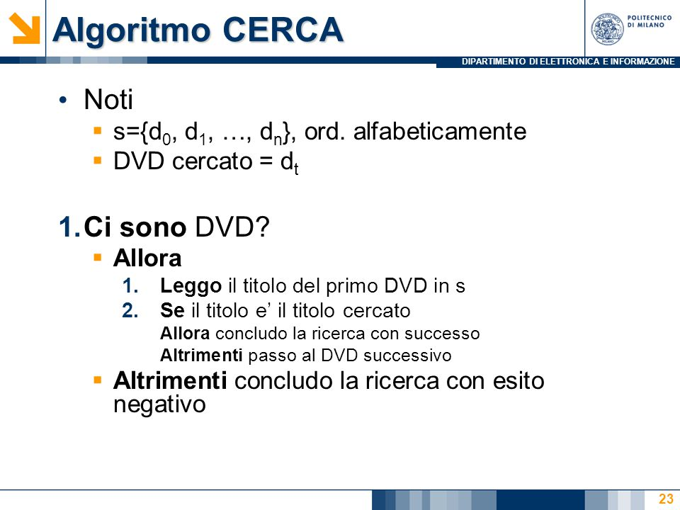 DIPARTIMENTO DI ELETTRONICA E INFORMAZIONE Algoritmo CERCA Noti  s={d 0, d 1, …, d n }, ord. alfabeticamente  DVD cercato = d t 1.Ci sono DVD?  All