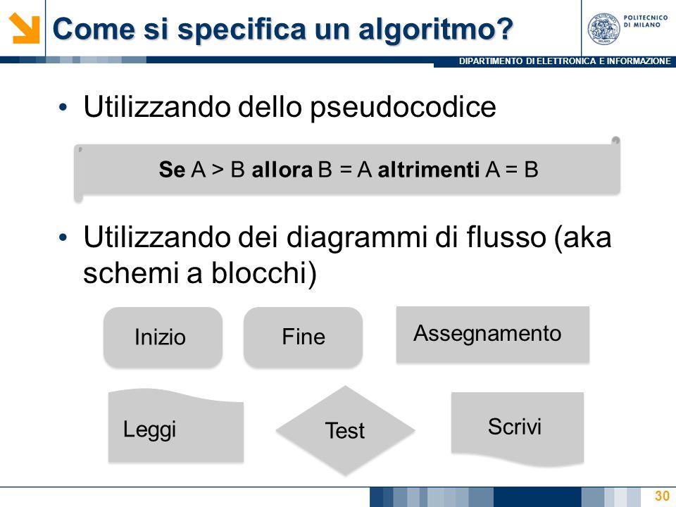 DIPARTIMENTO DI ELETTRONICA E INFORMAZIONE Come si specifica un algoritmo? Utilizzando dello pseudocodice Utilizzando dei diagrammi di flusso (aka sch