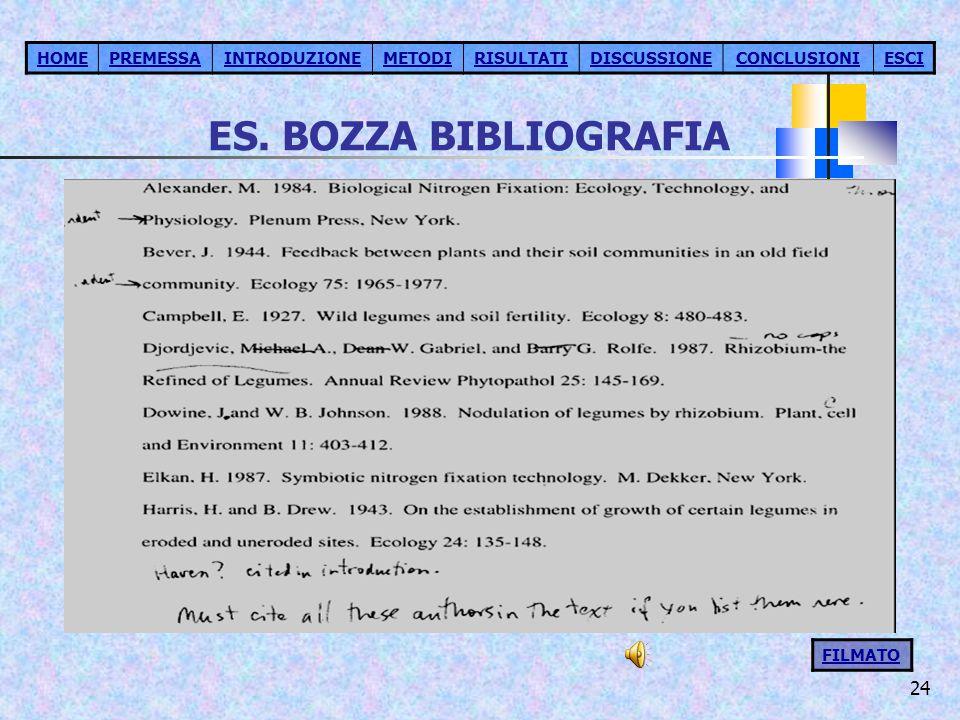 24 ES. BOZZA BIBLIOGRAFIA HOMEPREMESSAINTRODUZIONEMETODIRISULTATIDISCUSSIONECONCLUSIONIESCI FILMATO