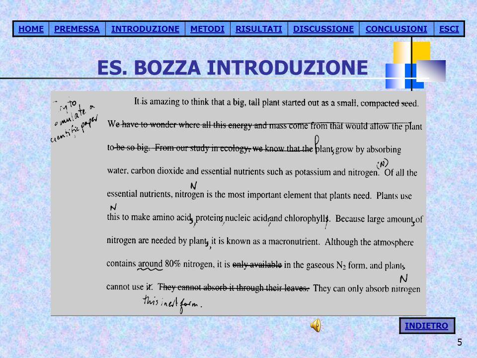 5 ES. BOZZA INTRODUZIONE HOMEPREMESSAINTRODUZIONEMETODIRISULTATIDISCUSSIONECONCLUSIONIESCI INDIETRO