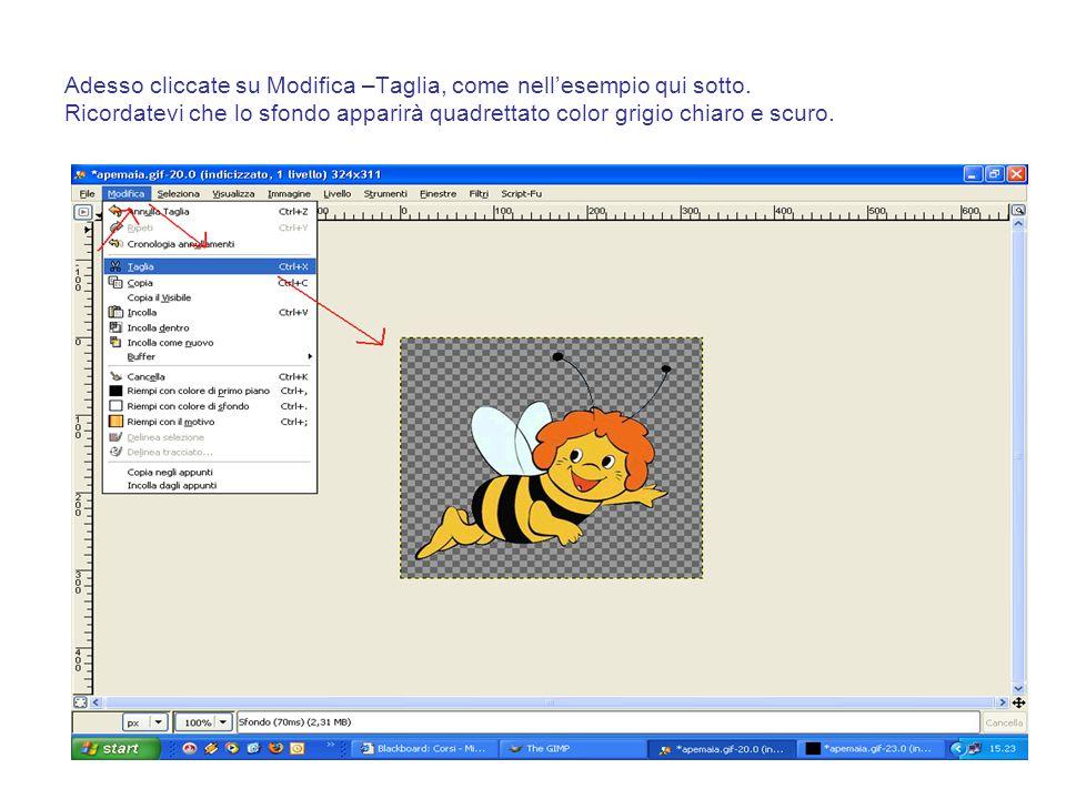 Adesso cliccate su Modifica –Taglia, come nell'esempio qui sotto. Ricordatevi che lo sfondo apparirà quadrettato color grigio chiaro e scuro.