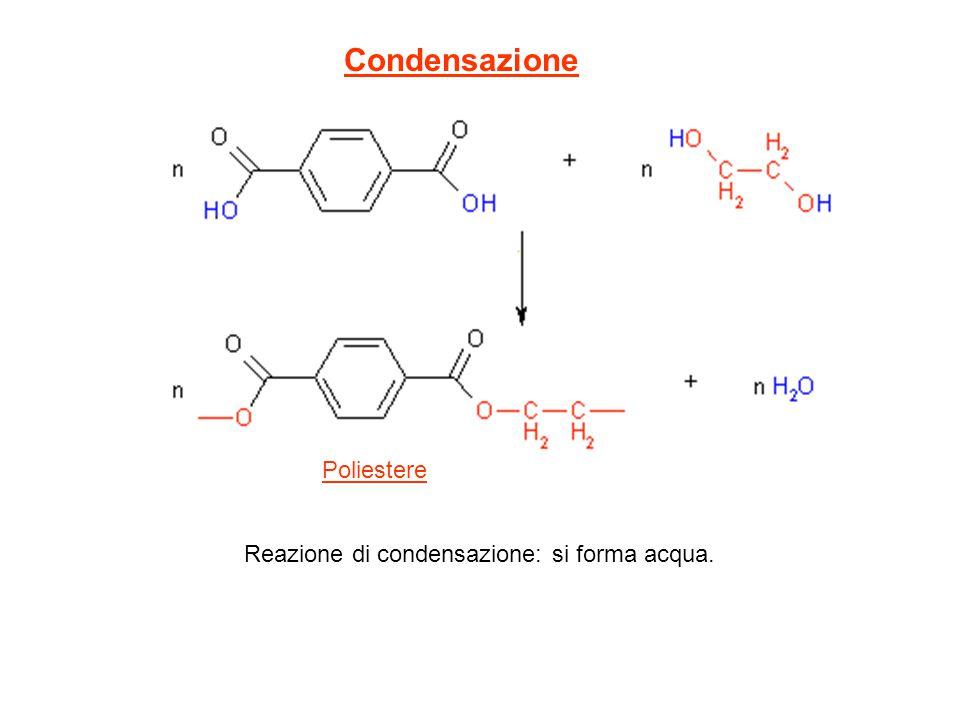 Condensazione Poliestere Reazione di condensazione: si forma acqua.