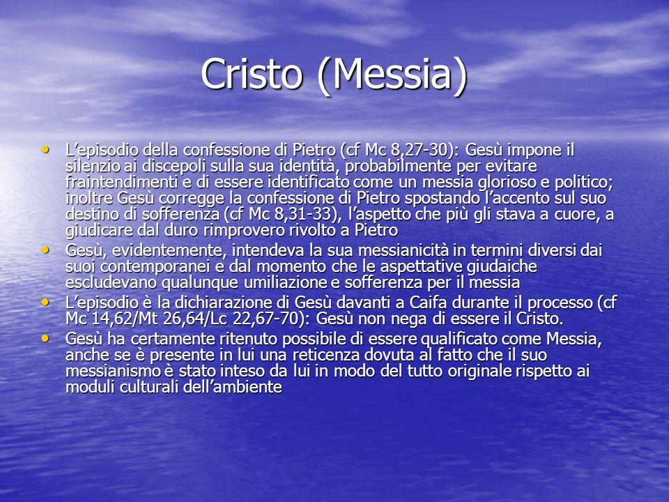 Cristo (Messia) L'episodio della confessione di Pietro (cf Mc 8,27-30): Gesù impone il silenzio ai discepoli sulla sua identità, probabilmente per evi
