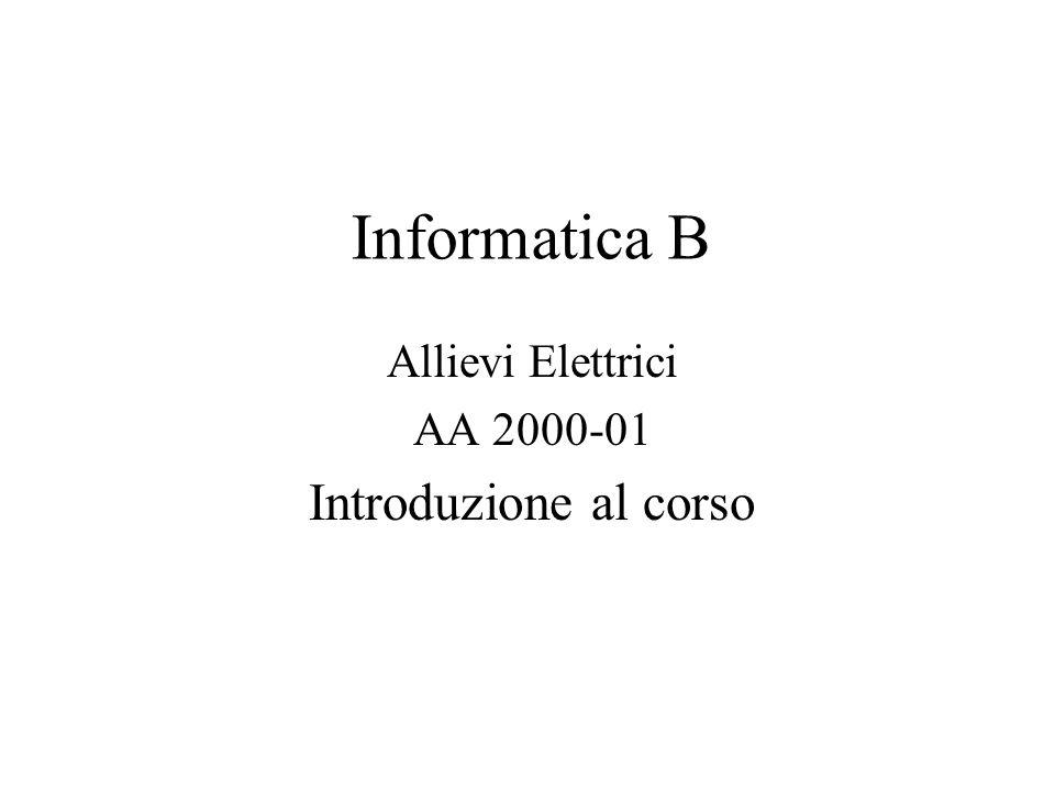 Informatica B Allievi Elettrici AA 2000-01 Introduzione al corso