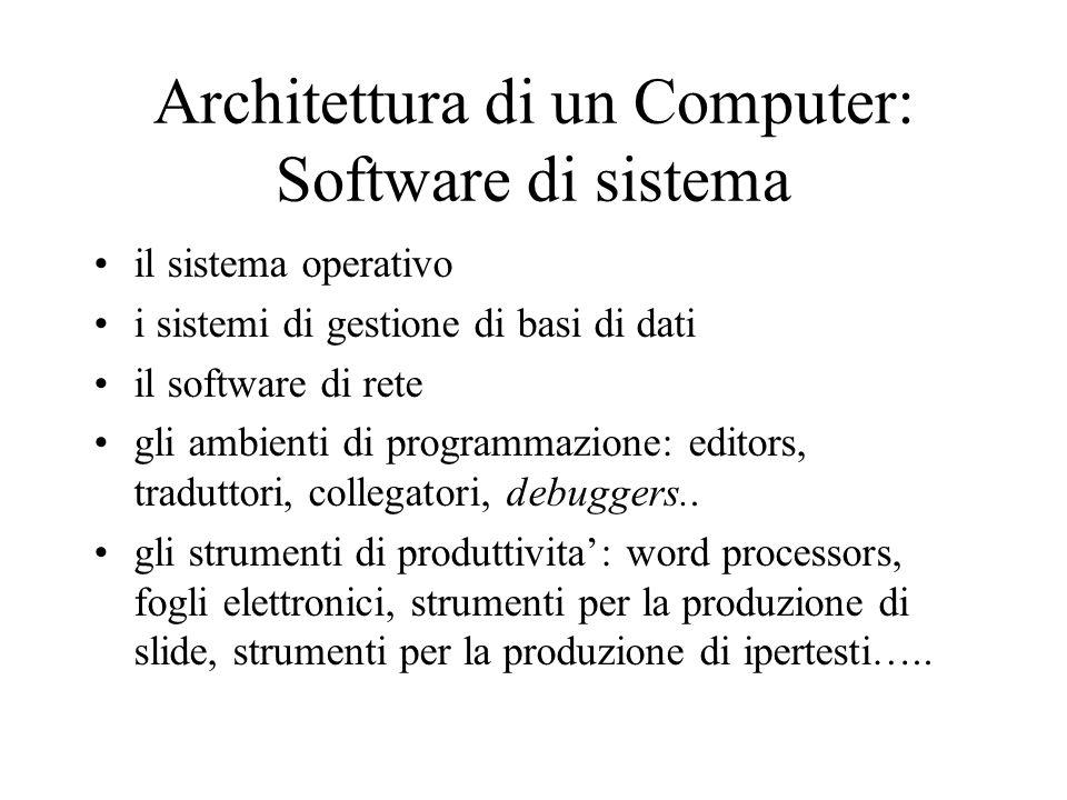 Architettura di un Computer: Software di sistema il sistema operativo i sistemi di gestione di basi di dati il software di rete gli ambienti di programmazione: editors, traduttori, collegatori, debuggers..