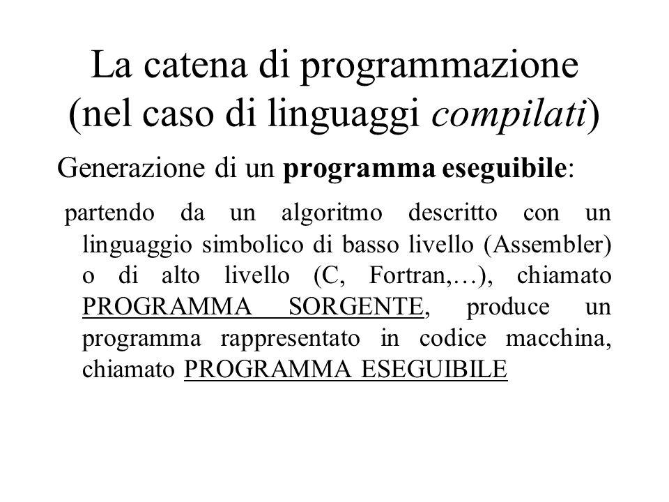 La catena di programmazione (nel caso di linguaggi compilati) Generazione di un programma eseguibile: partendo da un algoritmo descritto con un linguaggio simbolico di basso livello (Assembler) o di alto livello (C, Fortran,…), chiamato PROGRAMMA SORGENTE, produce un programma rappresentato in codice macchina, chiamato PROGRAMMA ESEGUIBILE