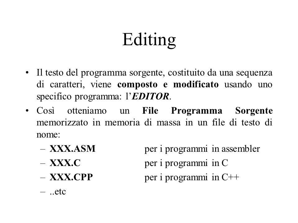 Editing Il testo del programma sorgente, costituito da una sequenza di caratteri, viene composto e modificato usando uno specifico programma: l'EDITOR.