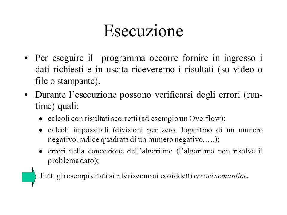 Esecuzione Per eseguire il programma occorre fornire in ingresso i dati richiesti e in uscita riceveremo i risultati (su video o file o stampante).