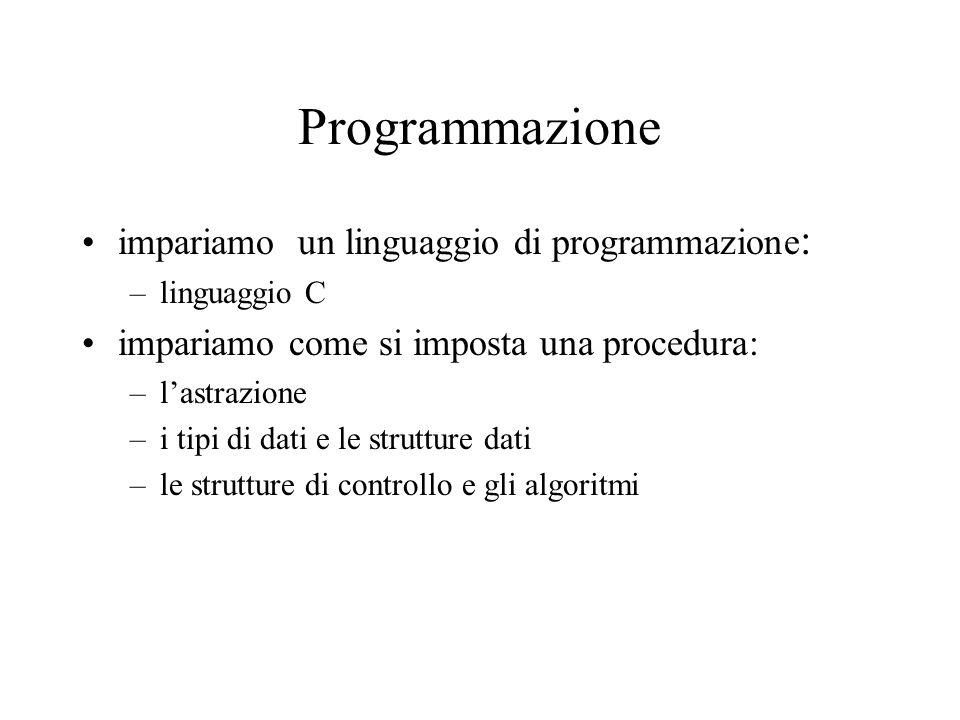 Programmazione impariamo un linguaggio di programmazione : –linguaggio C impariamo come si imposta una procedura: –l'astrazione –i tipi di dati e le strutture dati –le strutture di controllo e gli algoritmi