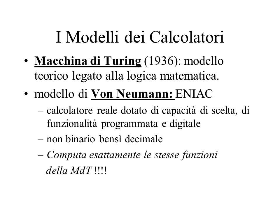I Modelli dei Calcolatori Macchina di Turing (1936): modello teorico legato alla logica matematica.